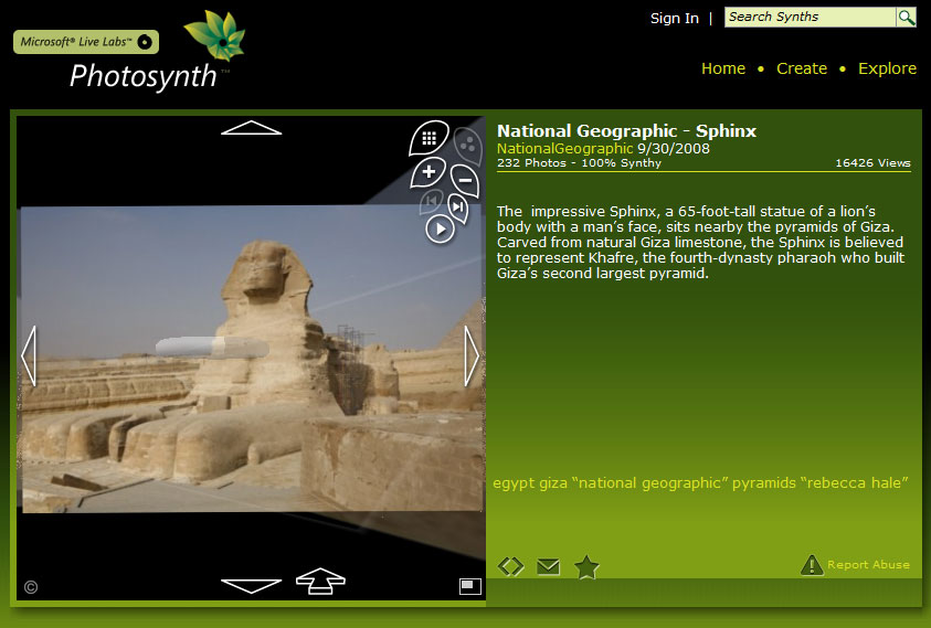How 232 images of the Sphinx can be walked-through.