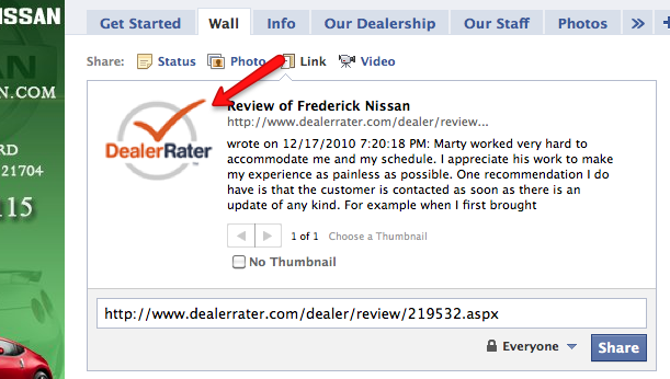 DealerRater Logo on Facebook