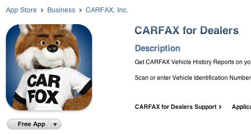 image of carfax iphone app