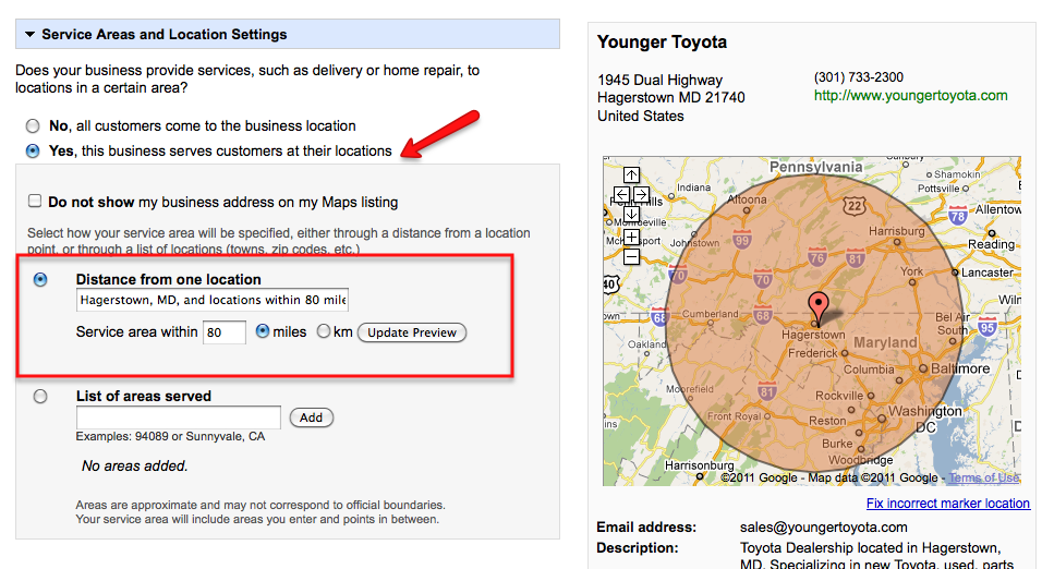 image of google service area settings