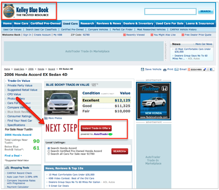 AutoTrader Trade-in on KBB.com