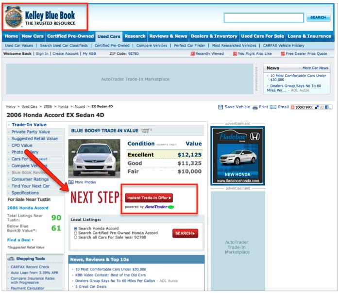 AutoTrader Trade-in on KBB.com