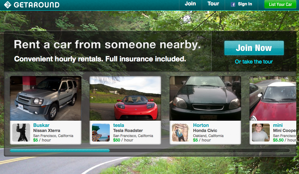 image of getaround homepage