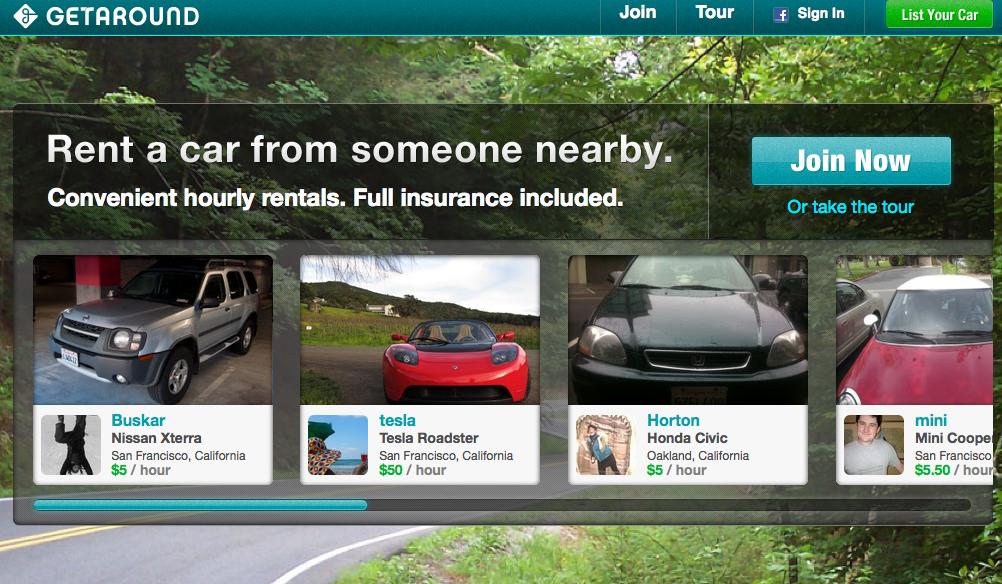 image of getaround homepage
