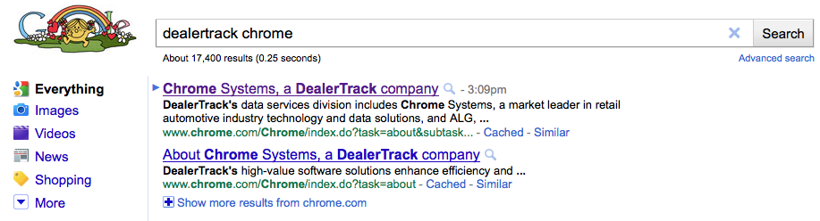 google search for dealertrack chrome systems