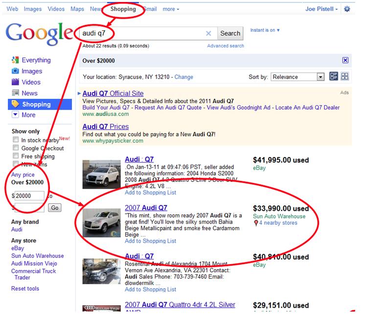 Google Search Audi Q7