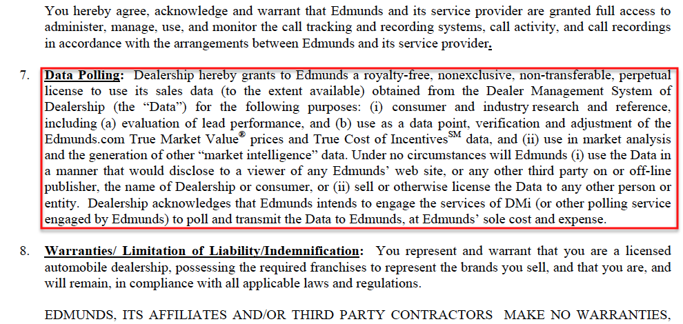 edmunds.com Dealer Contract for DMS Polling