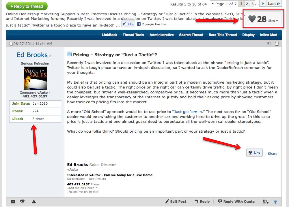 DealerRefresh forum Like feature