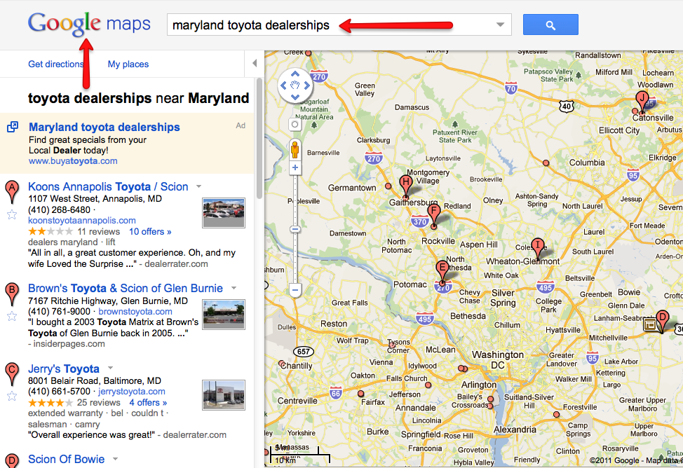 google maps dealership search