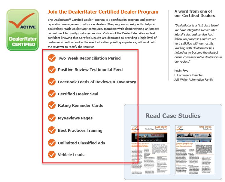 image of dealerrater certified signup