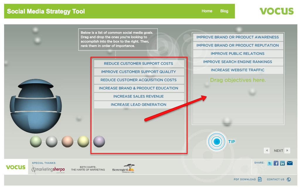 vocus social strategy tool