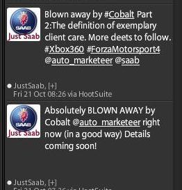 Just Saab Tweet - Cobalt redemption