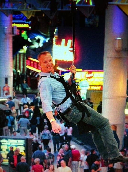 Kevin Frye ziplining in Las Vegas at Digital Dealer