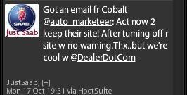 Just Saab Tweet - Cobalt Call Out