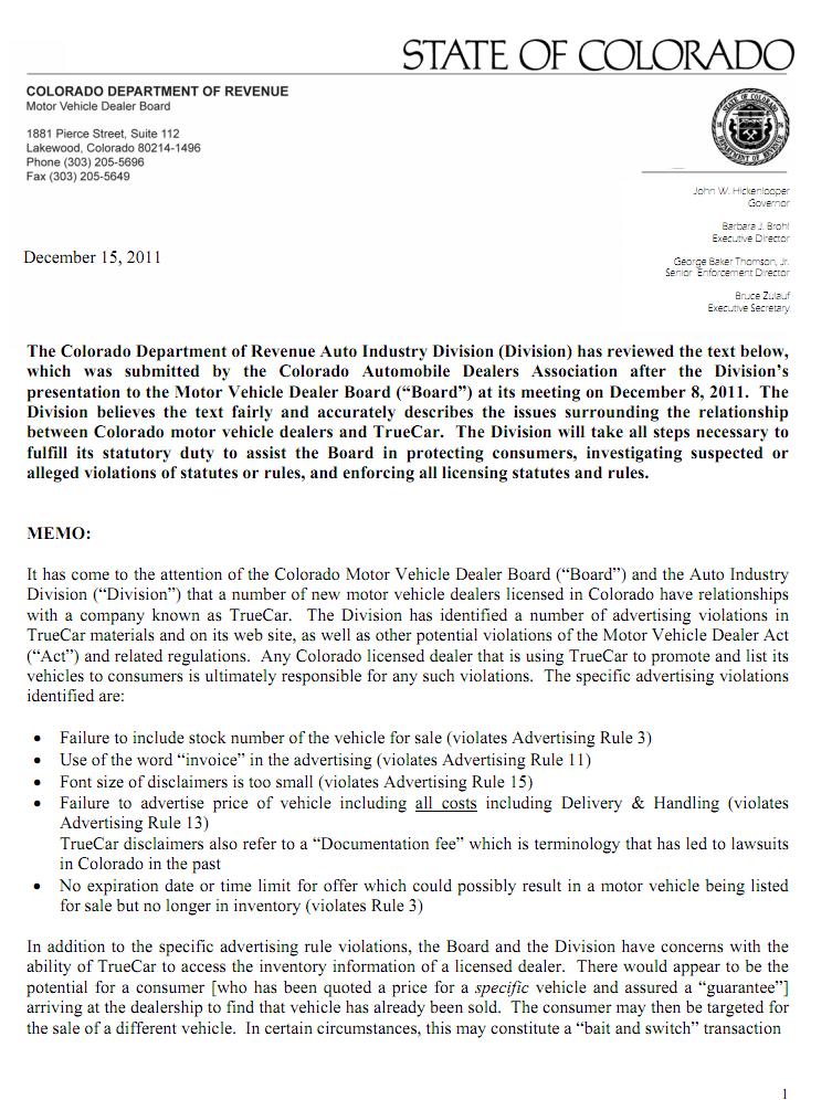 Colorado Department of Revenue Cites TrueCar Advertising Violations