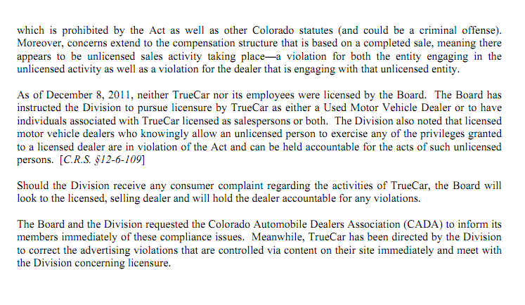 Colorado Department Revenue VS TrueCar