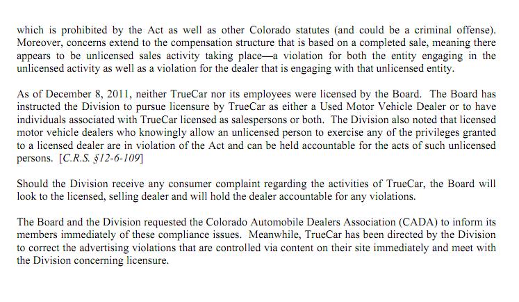 Colorado Department Revenue VS TrueCar