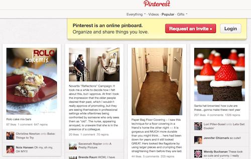 Screen Shot of Pinterest
