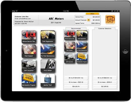 iTapMenu Screen Shot Main page