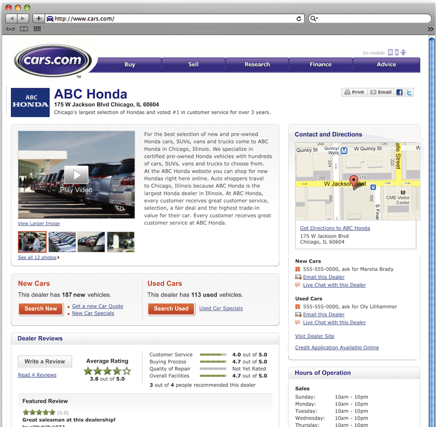 screen shot of new Cars.com New Car Page