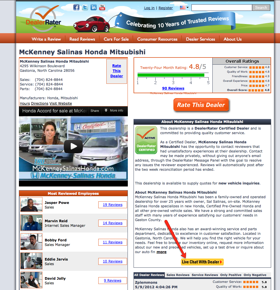 DealerRater Contact at Once chat screen shot