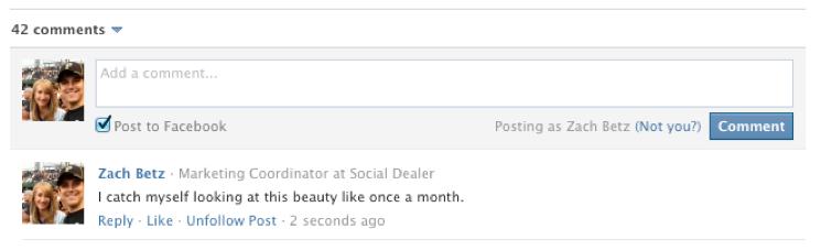 Alpine sport facebook inline comment example
