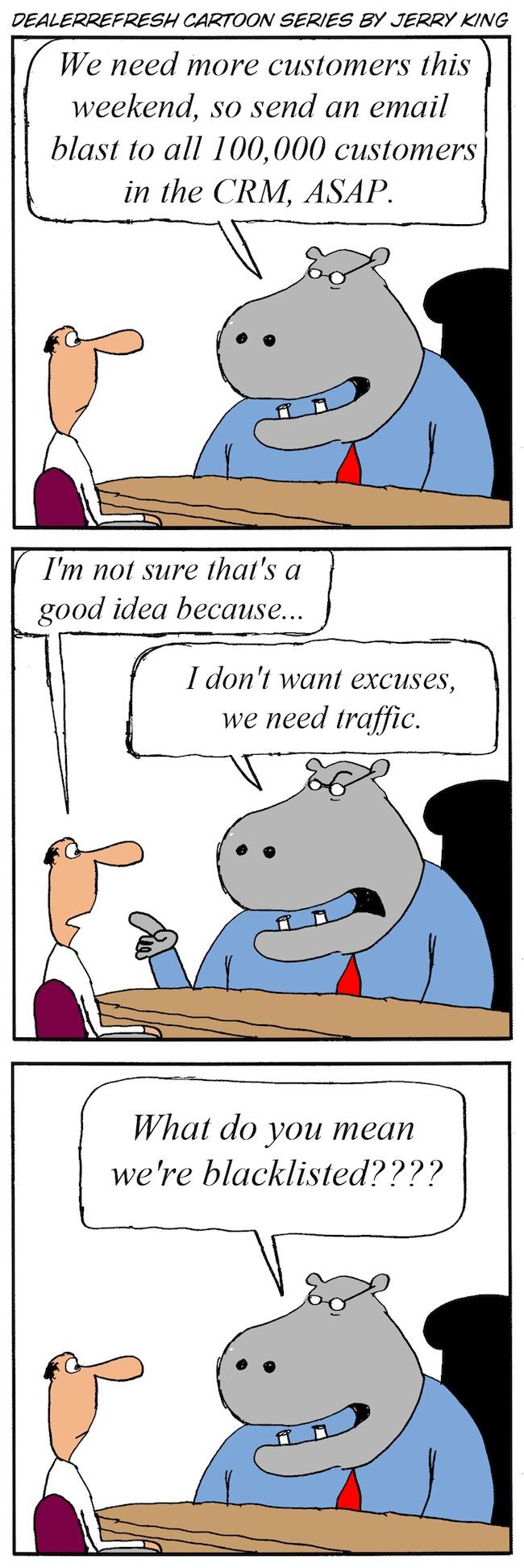 Email Blast Excuses Cartoon