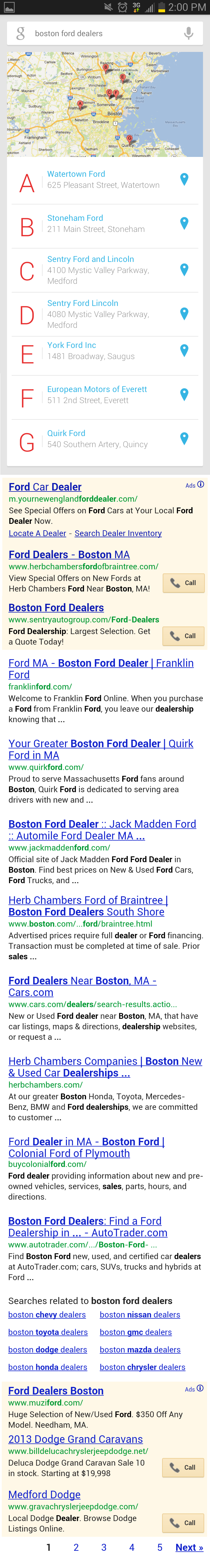 Mobile Google Search on Jelly Bean