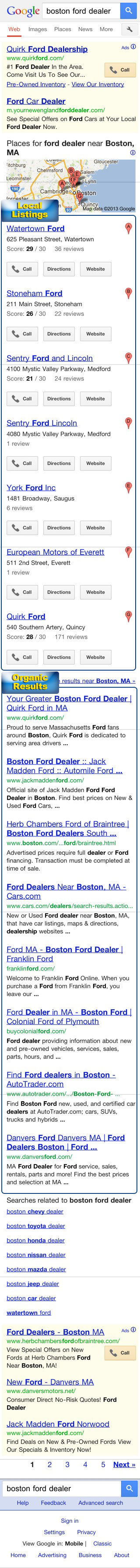 Mobile Safari Browser SERP