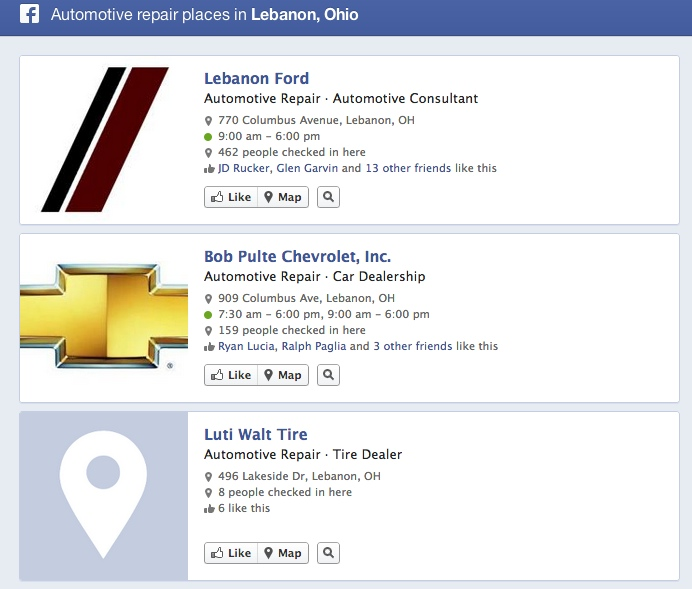 Facebook Graph Search automotive repair