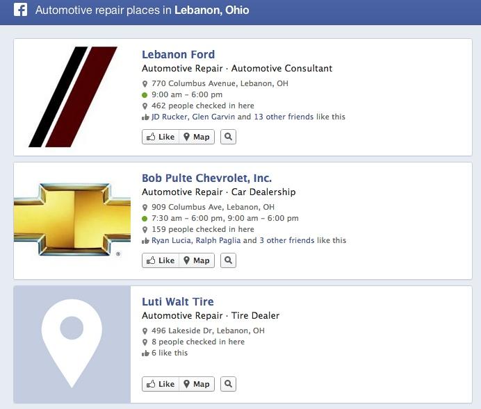 Facebook Graph Search automotive repair