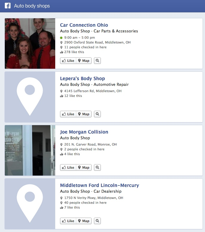 Facebook Graph search body shop