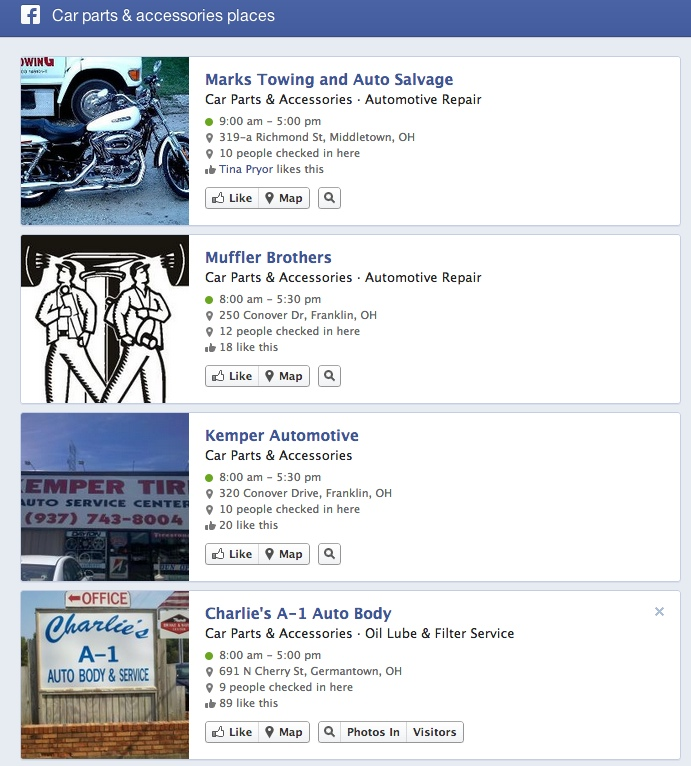 Facebook Graph search car parts