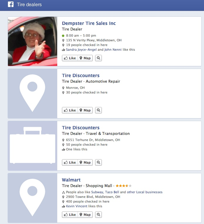 Facebook Graph search tire dealers