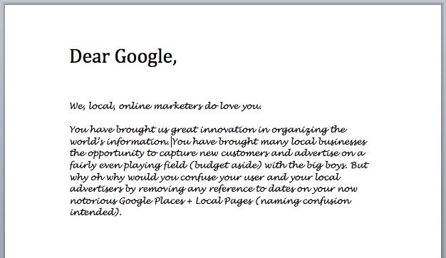 Dear Google Open Letter