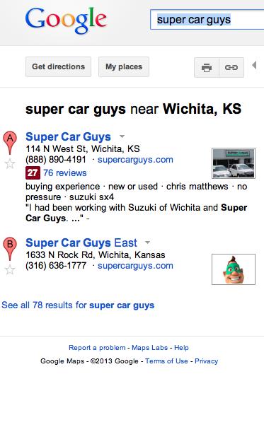 SCG Google Maps Listings