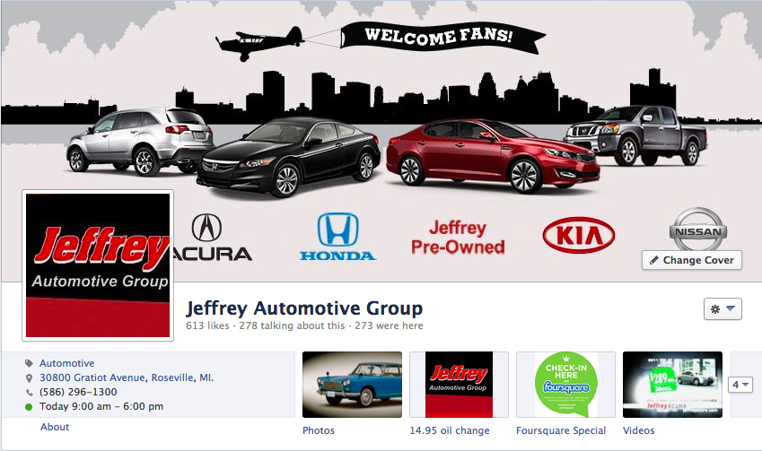 Dealership with Visitors from Facebook Check-ins