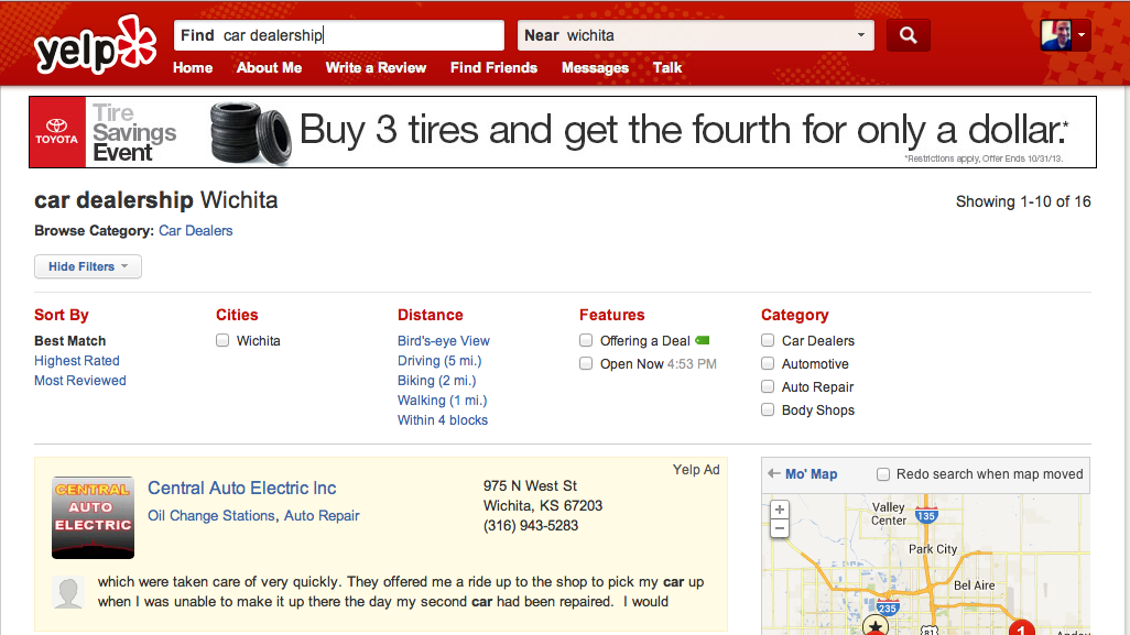 Central Auto Electric Yelp Ad