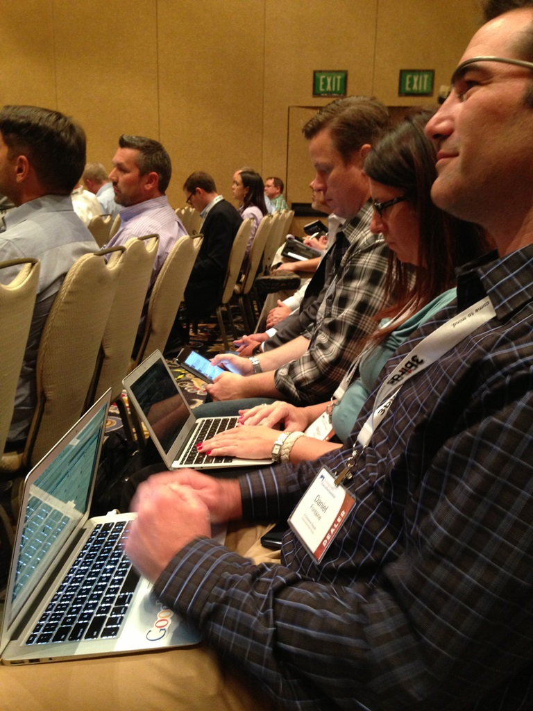 Technology in action during breakout sessions - Daniel Fontaine, Megan Barto, and Jason Stum