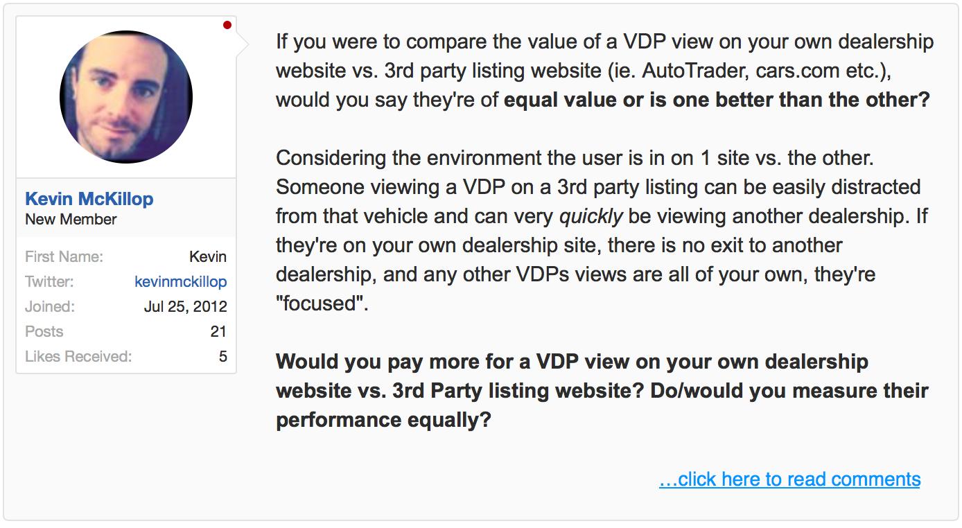 VDP worth - website vs listing website