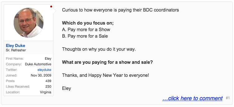 BDC pay plan based on lead to show or sold?