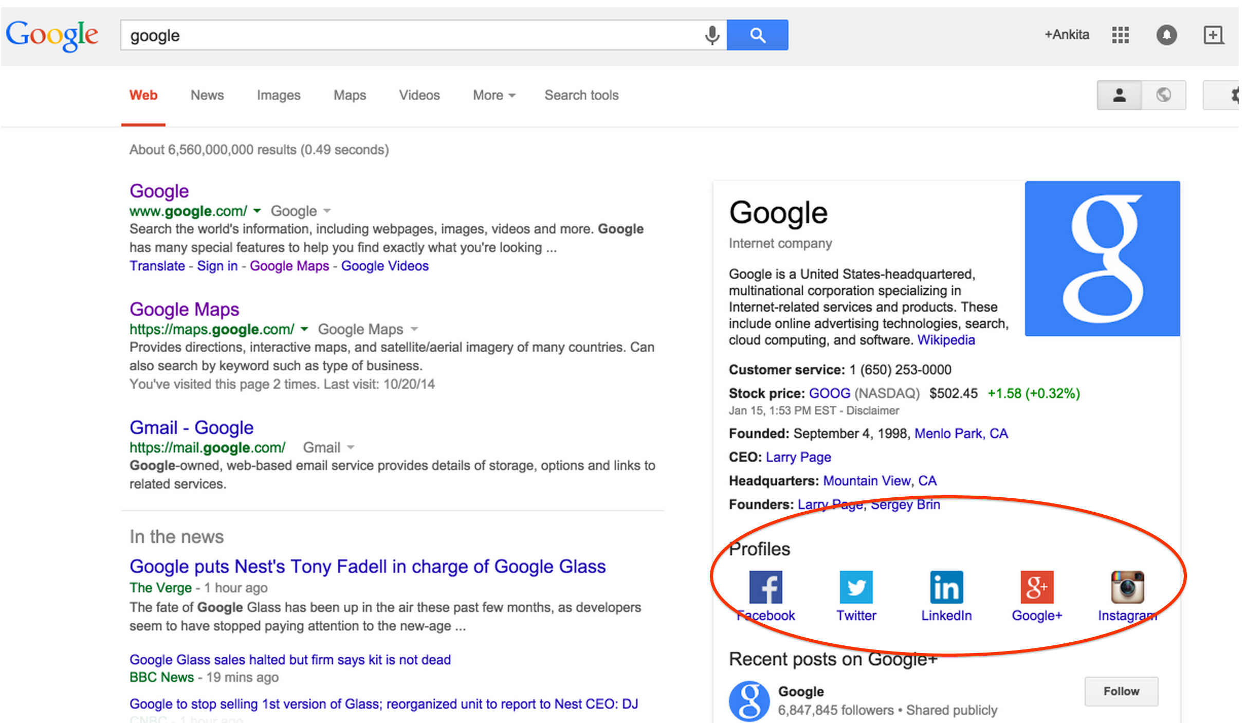 Google Adds Social Profile Links in Knowledge Graph