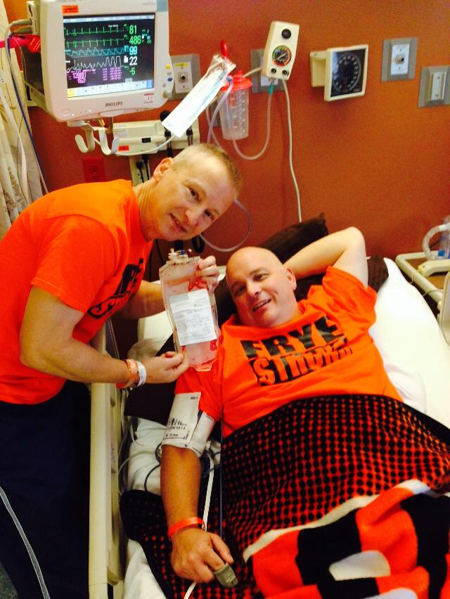 Jon Frye receiving my bone marrow last fall - PTL for answered prayers for his recovery