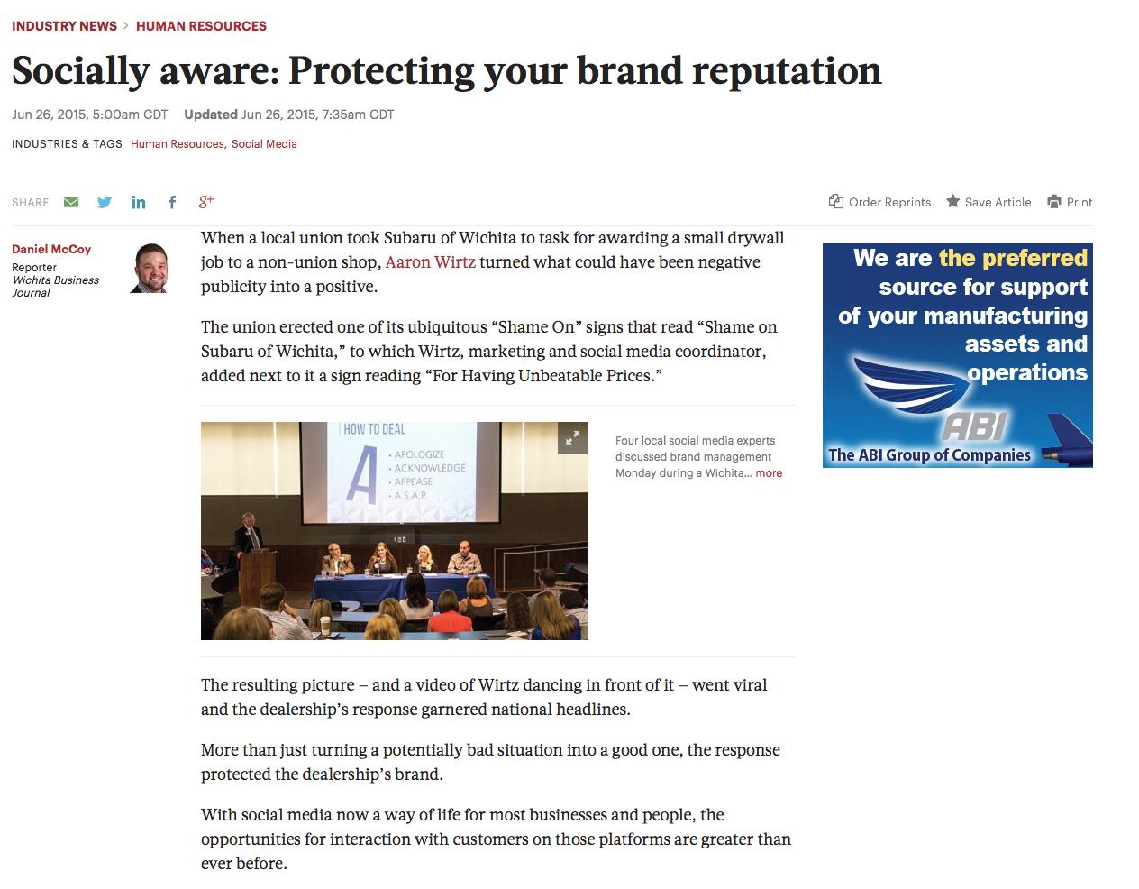Aaron Wirtz at Wichita Business Journal Discussion