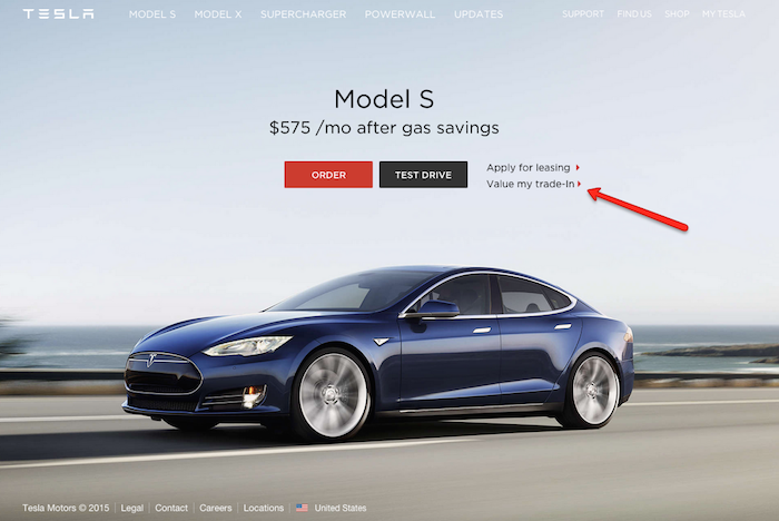 tesla trade offer on homepage