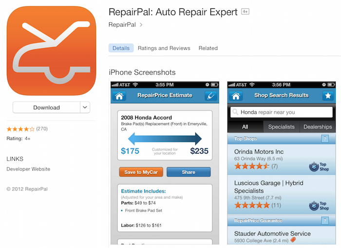 RepairPal vehicle service mobile app