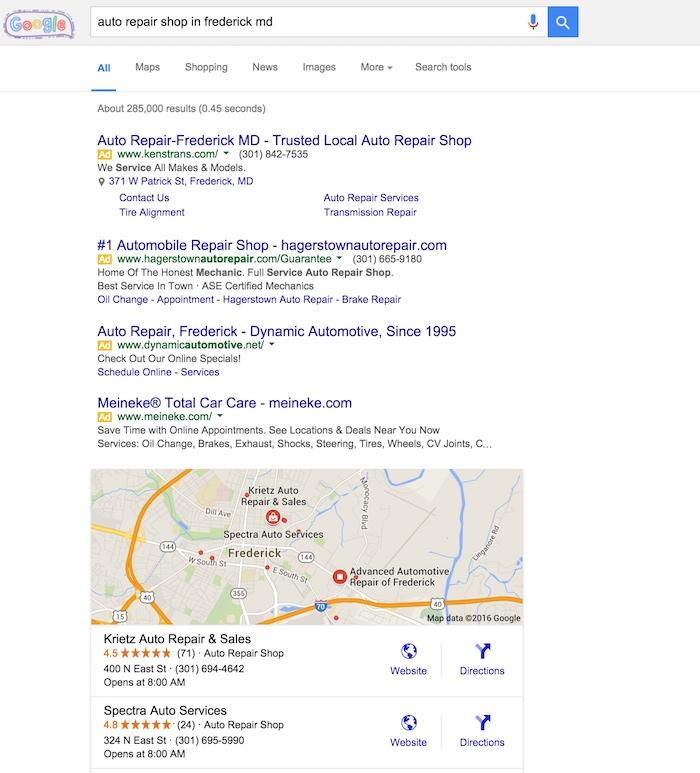 local service repair search results