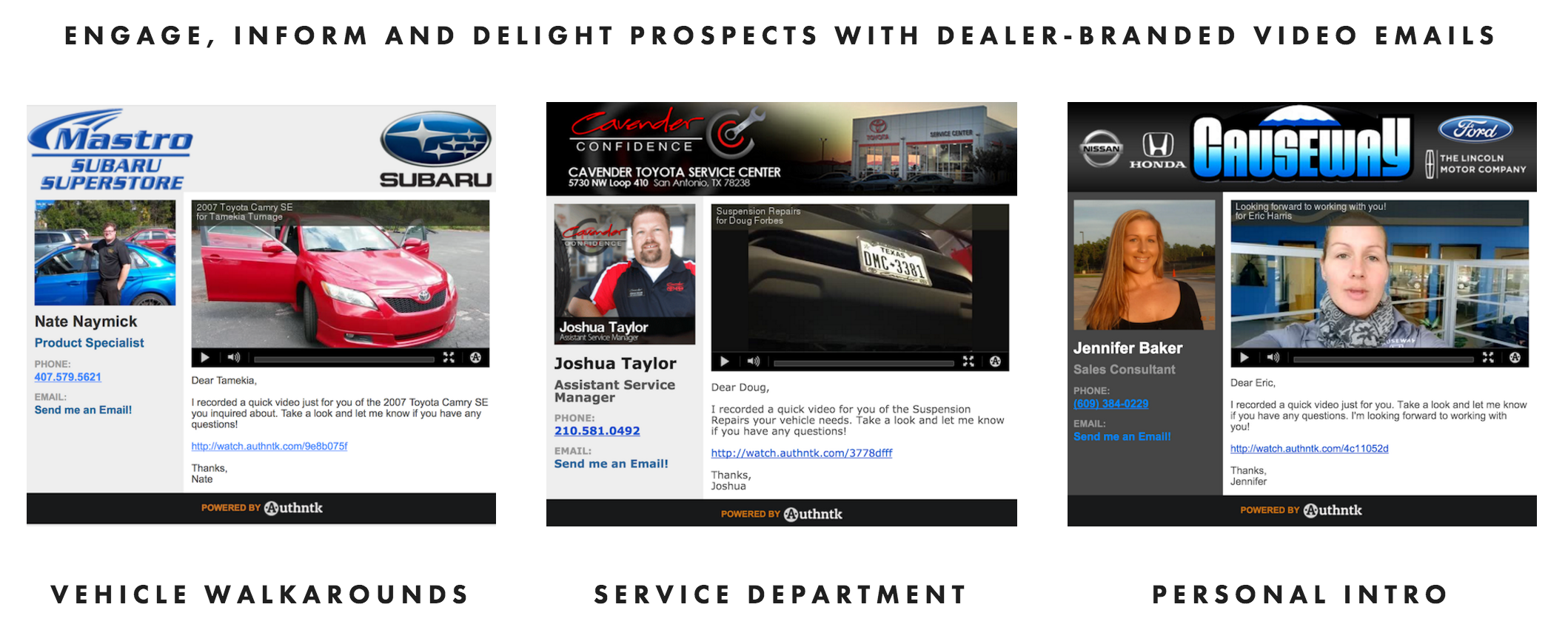 Engage, inform, and delight customers with dealer-branded video emails
