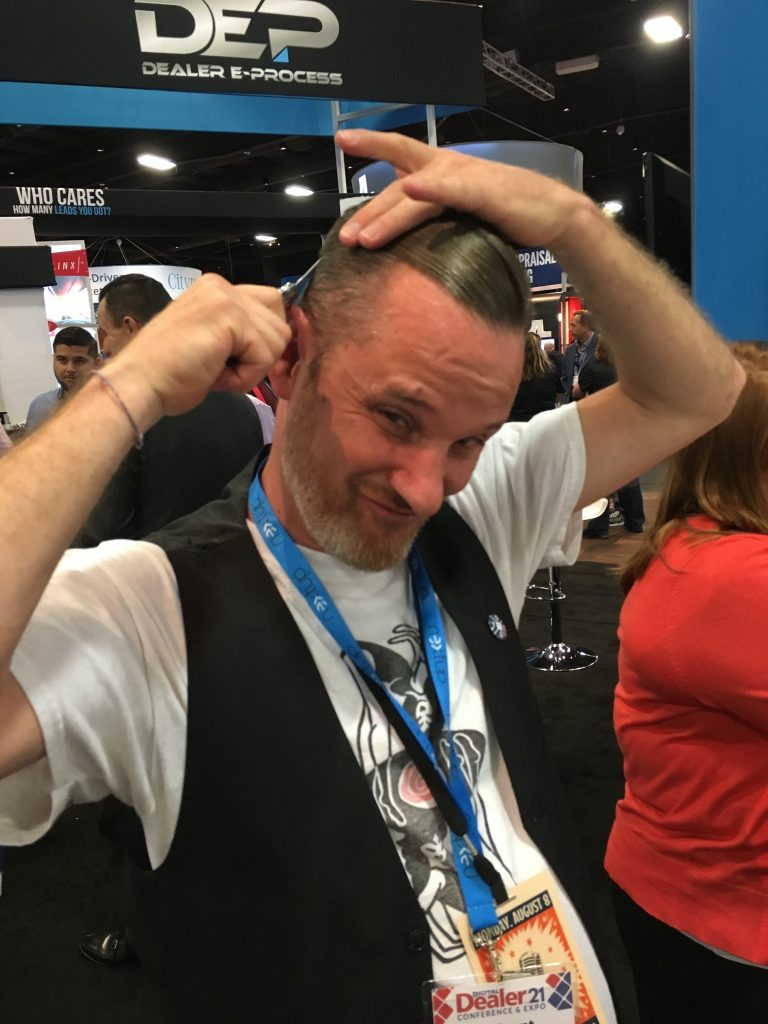 "Brent Wees using the new ""switch-comb"" give-away"