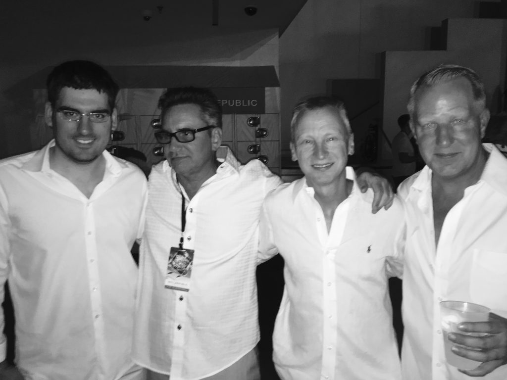 Enjoying the White party with Mike Roscoe and Erich Gail
